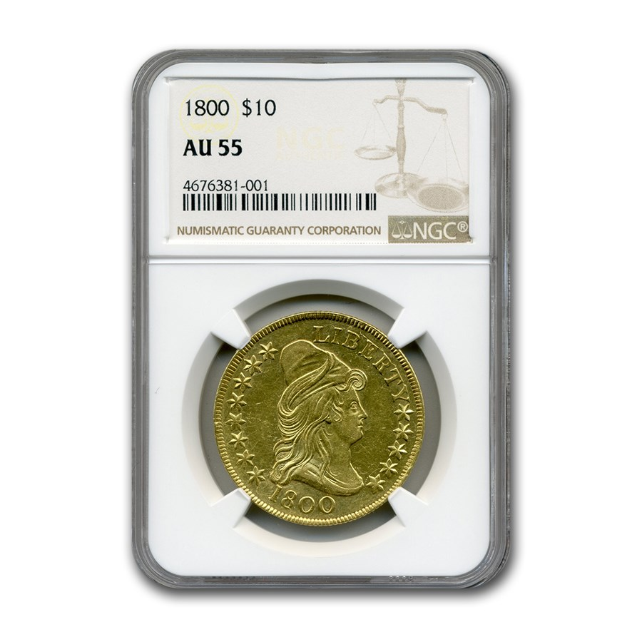 1800 $10 Capped Bust Gold Eagle AU-55 NGC