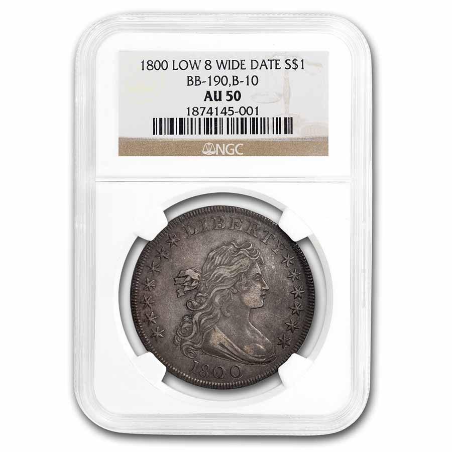 1800 Draped Bust Dollar AU-50 NGC