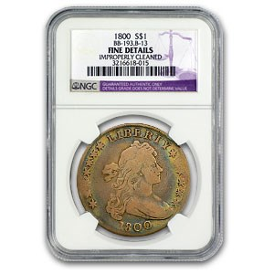 1800 Draped Bust Dollar Fine Details NGC (Cleaned)