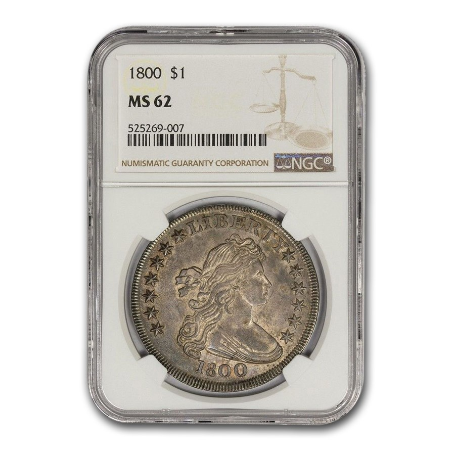 1800 Draped Bust Dollar MS-62 NGC