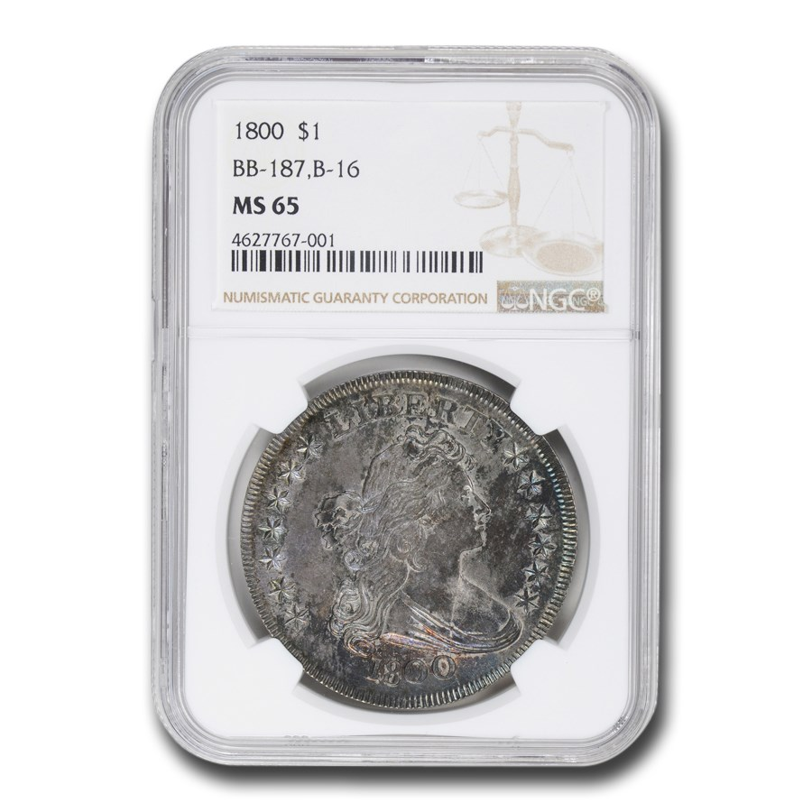 1800 Draped Bust Dollar MS-65 NGC (BB-187, B-16)