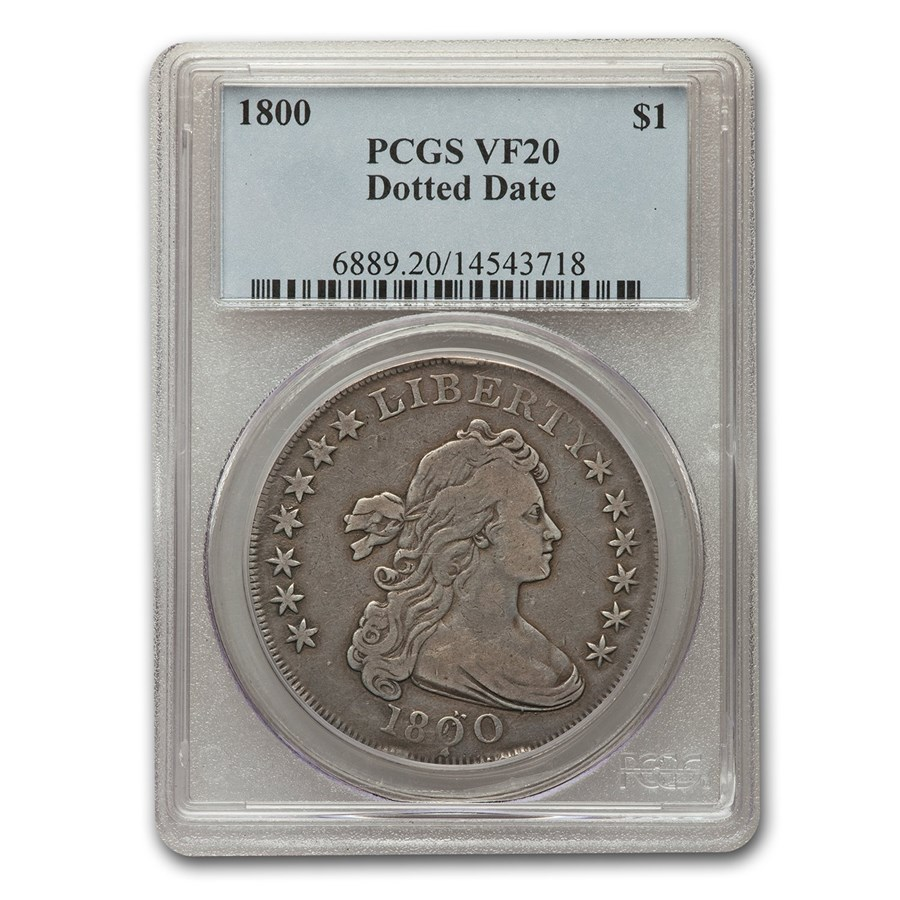 1800 Draped Bust Dollar VF-20 PCGS (Dotted Date)