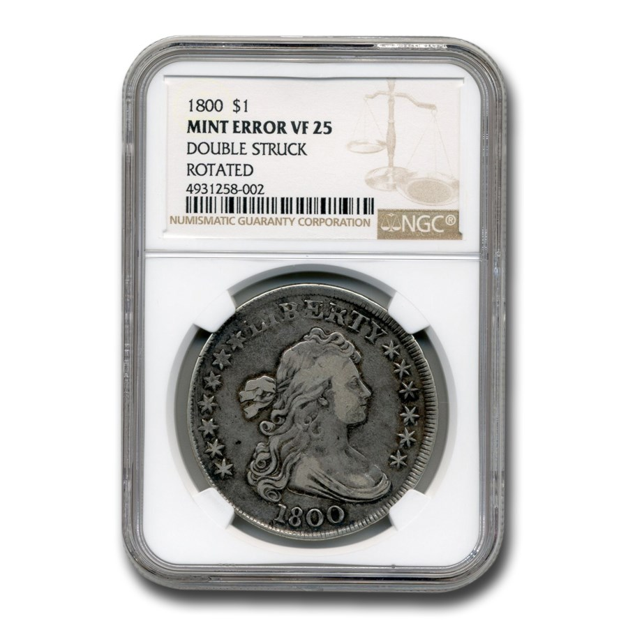 1800 Draped Bust Dollar VF-25 NGC (Double Struck Rotated)
