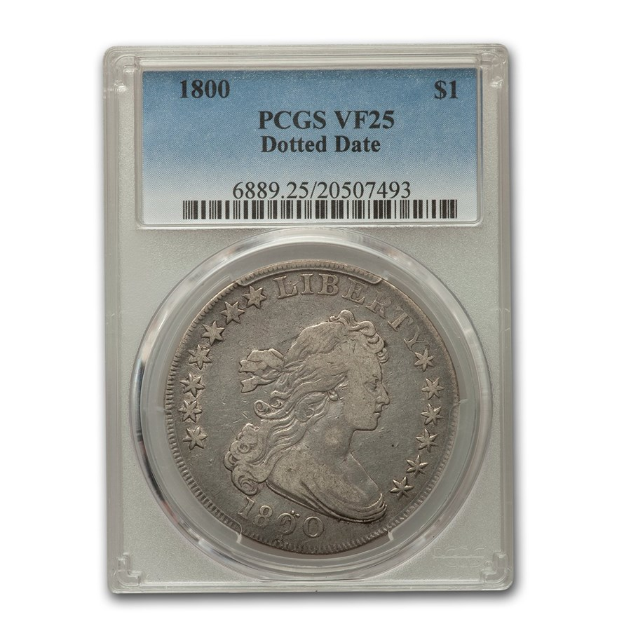 1800 Draped Bust Dollar VF-25 PCGS (Dotted Date)