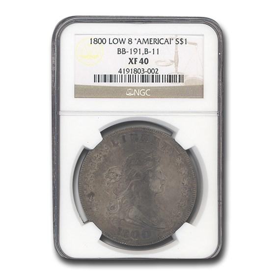 1800 Draped Bust Dollar XF-40 NGC (Low 8 AMERICAI BB-191, B-11)