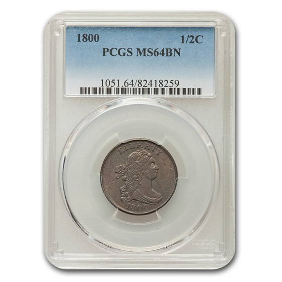 1800 Draped Bust Half Cent MS-64 PCGS (Brown)
