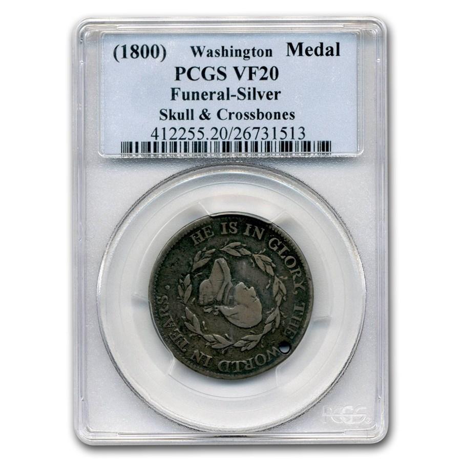 (1800) Washington Funeral Medal Skull & Crossbones VF-20 PCGS