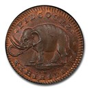 1800s Great Britain Copper Pidcock's Farthing Token MS-65 RB PCGS