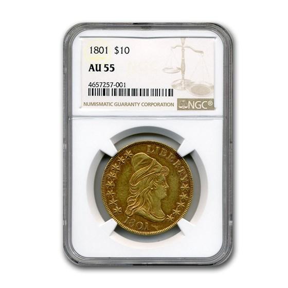 1801 $10 Capped Bust Gold Eagle AU-55 NGC