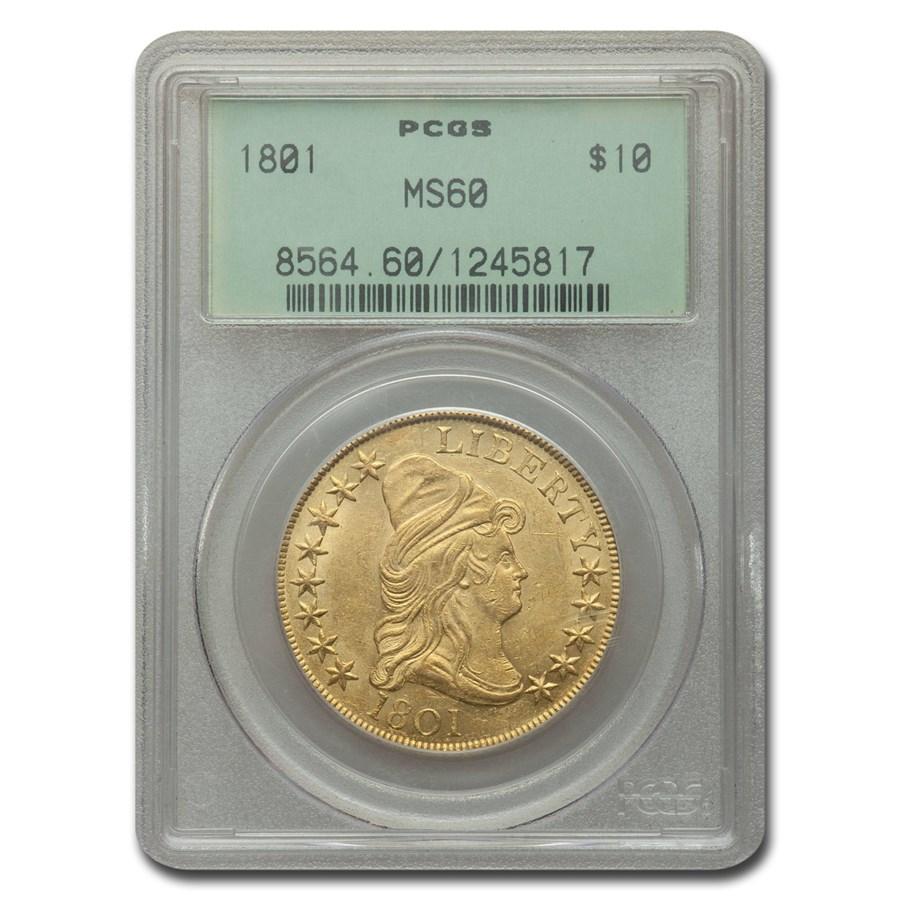 1801 $10 Turban Head Gold Eagle MS-60 PCGS