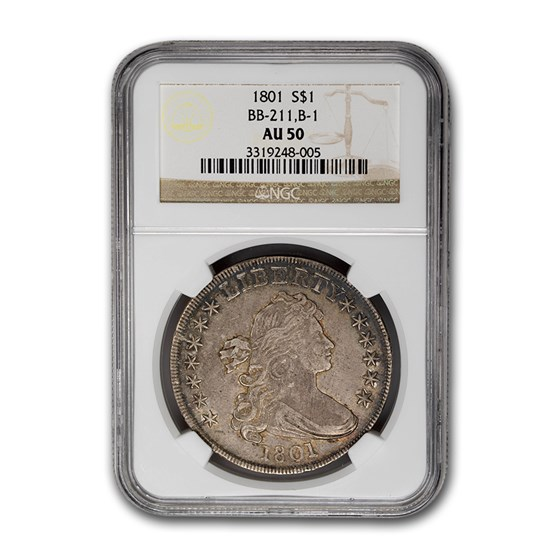 1801 Draped Bust Dollar AU-50 NGC (BB-211, B-1)