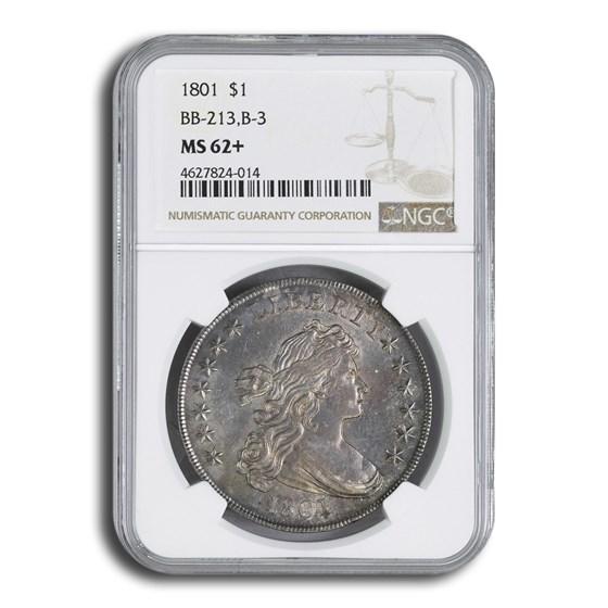 1801 Draped Bust Dollar Heraldic Eagle MS-62+ NGC (BB-213, B-3)