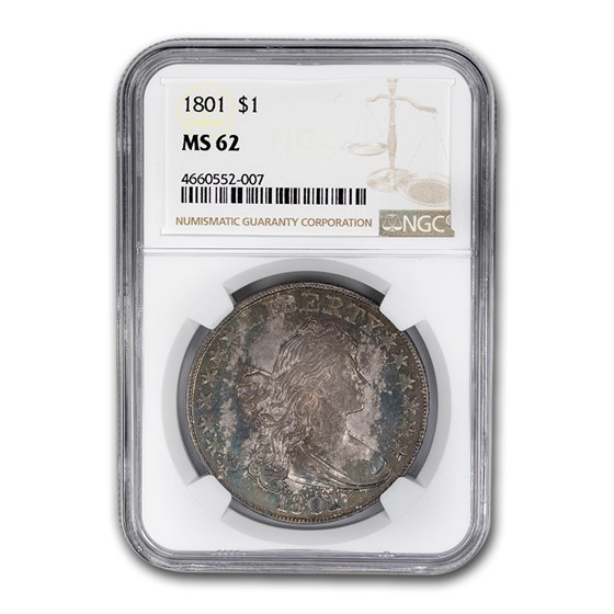 1801 Draped Bust Dollar MS-62 NGC