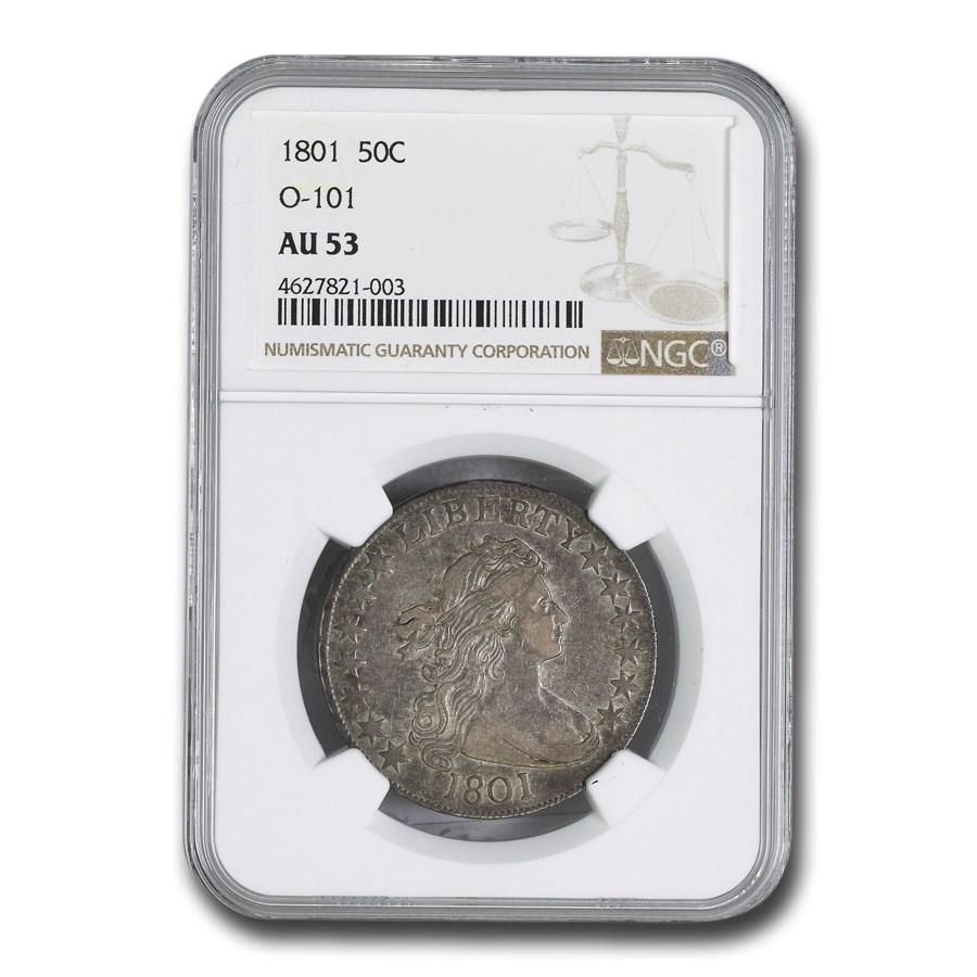 1801 Draped Bust Half Dollar AU-53 NGC (O-101)
