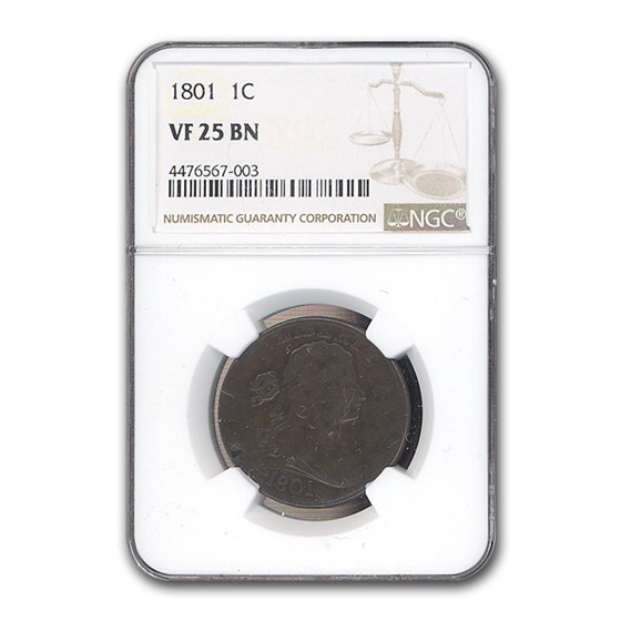 1801 Large Cent VF-25 NGC (Brown)