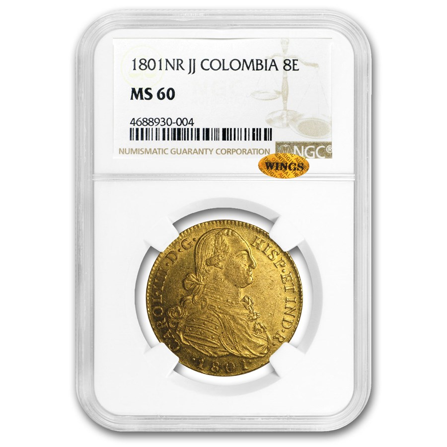 1801-NR JJ Colombia Gold 8 Escudo Carlos IV MS-60 NGC