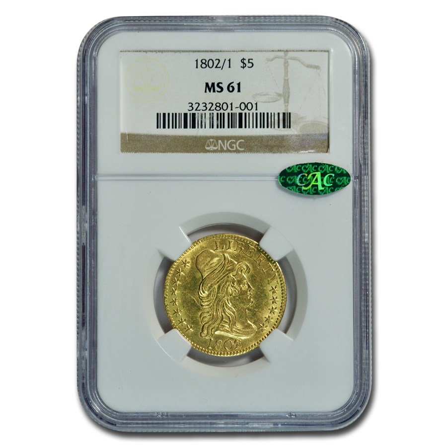 1802/1 $5 Capped Bust Gold Half Eagle MS-61 NGC CAC