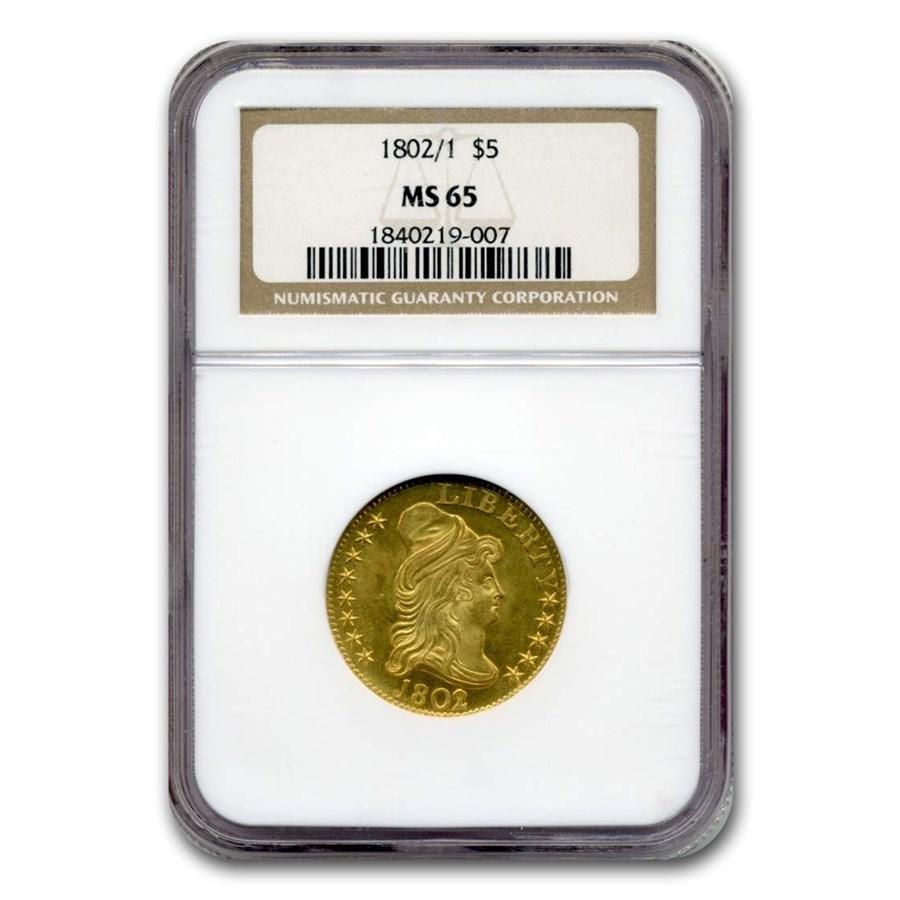 1802/1 $5 Turban Head Gold Half Eagle MS-65 NGC