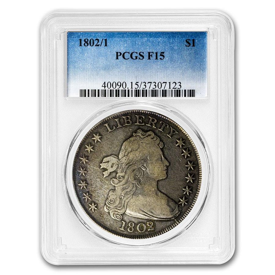 1802/1 Draped Bust Dollar F-15 PCGS