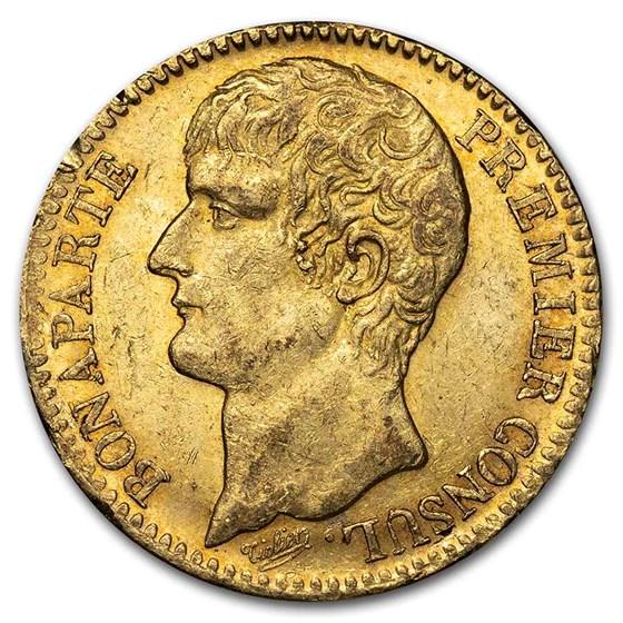 1802 AN XI France Gold 40 Francs Napoleon AU