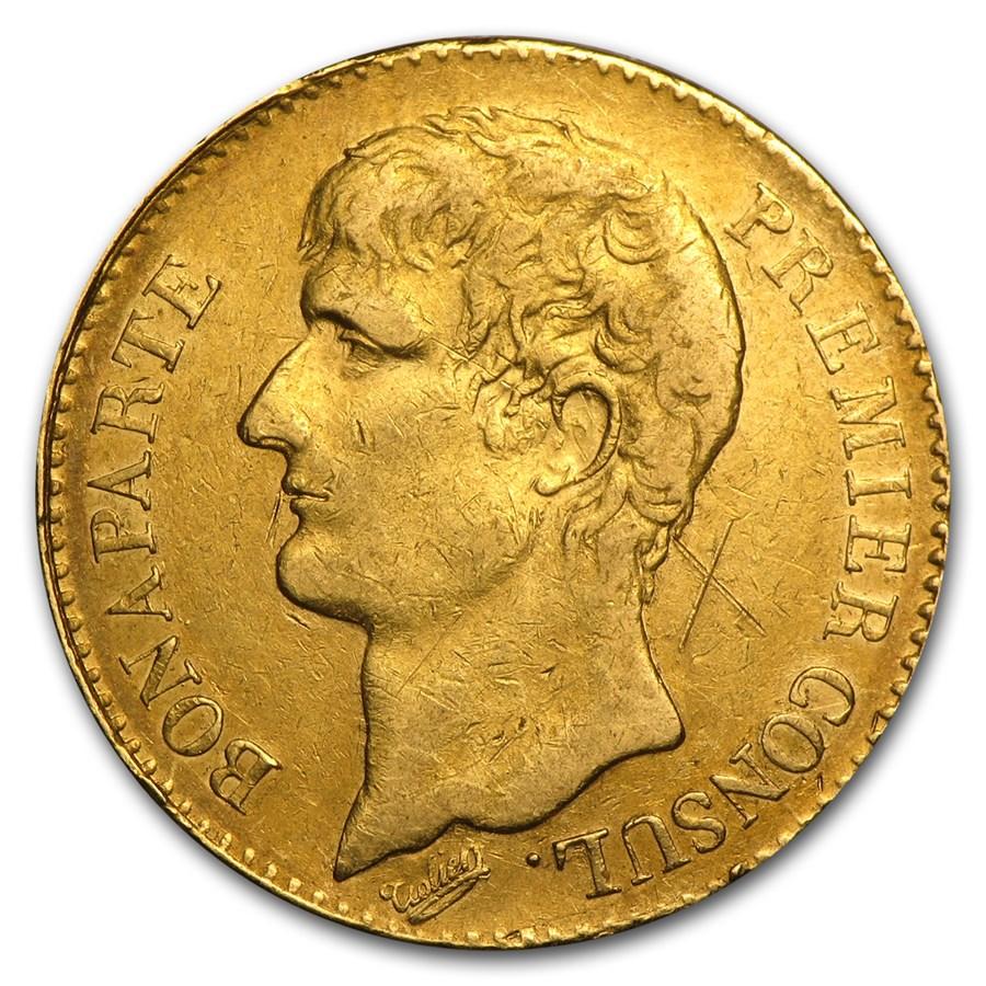 1802 AN XI France Gold 40 Francs Napoleon Avg Circ