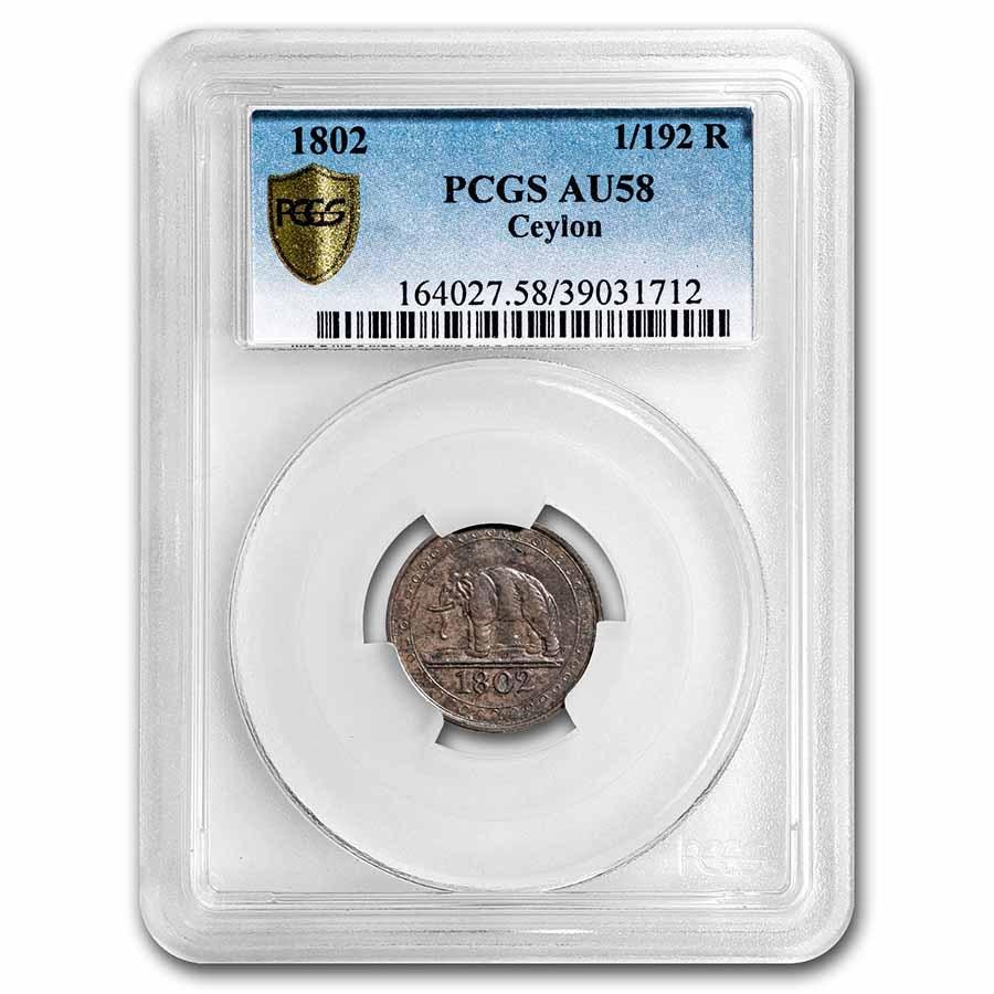 1802 Ceylon Copper 1/192 Rixdollar AU-58 PCGS