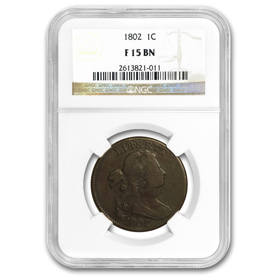 1802 Large Cent F-15 NGC (Stems)