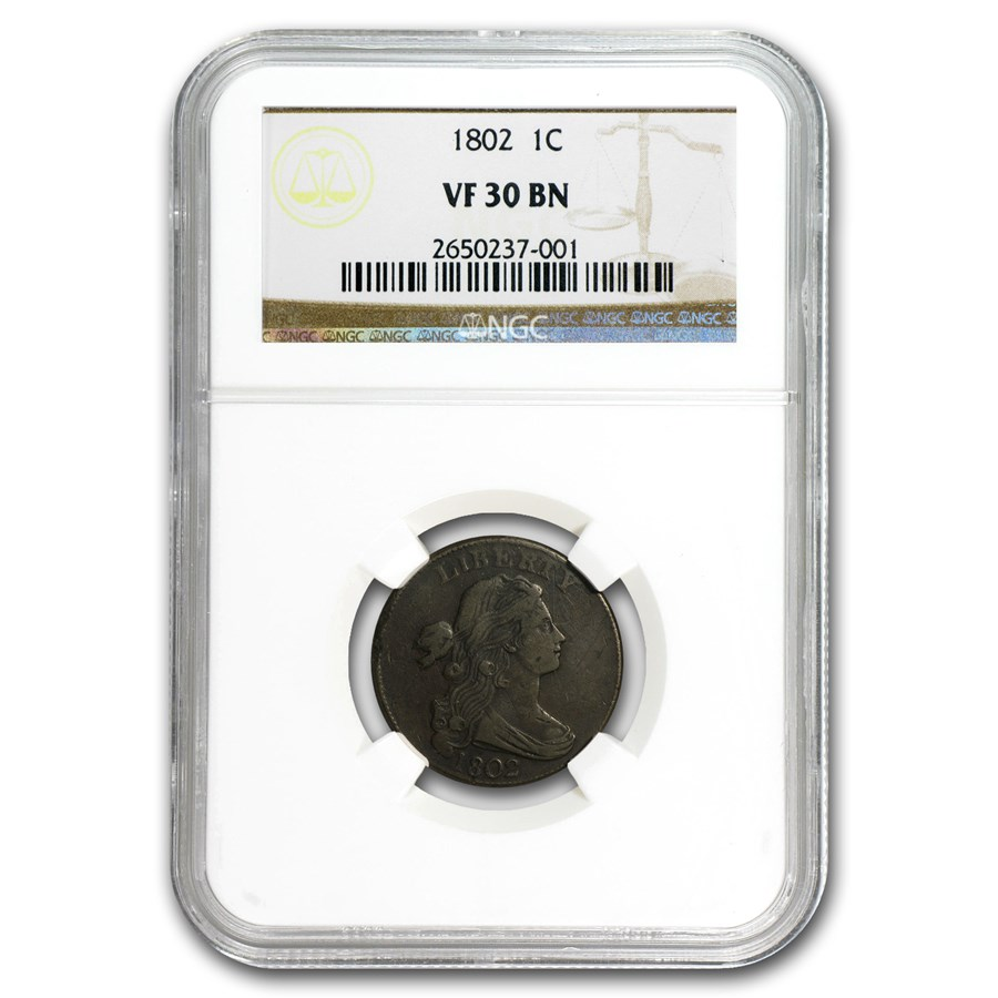 1802 Large Cent VF-30 NGC