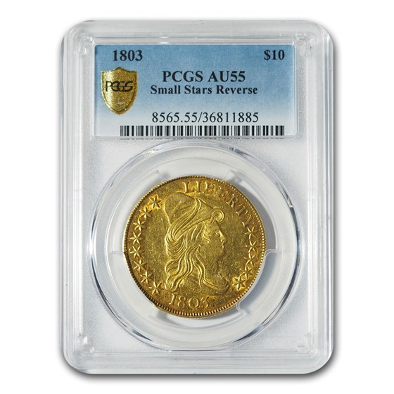 1803 $10 Turban Head Gold Eagle AU-55 PCGS (Small Stars Reverse)