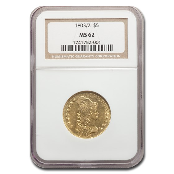 1803/2 $5 Capped Bust Gold Half Eagle MS-62 NGC