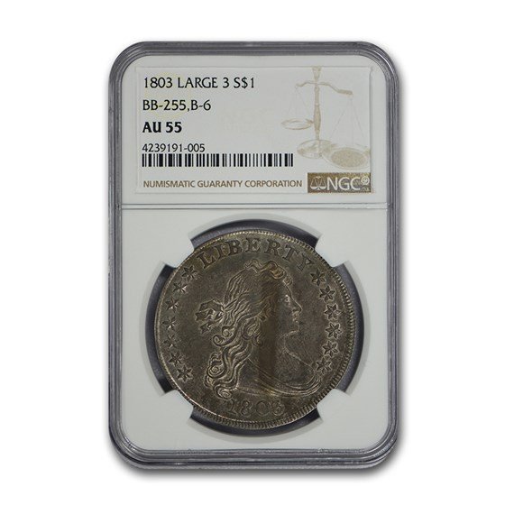 1803 Draped Bust Dollar AU-55 NGC (Large 3)