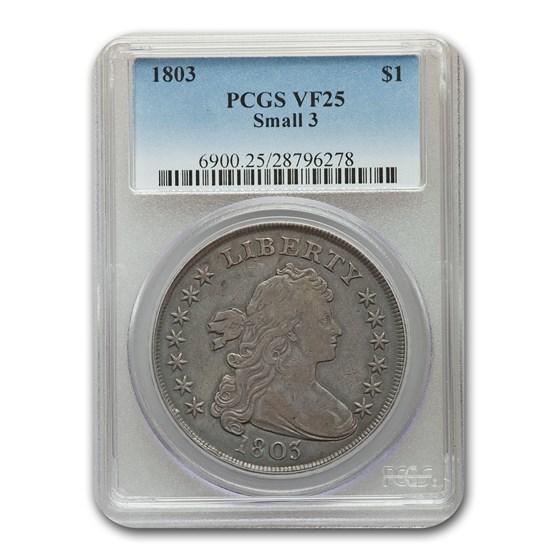 1803 Draped Bust Dollar VF-25 PCGS (Small 3)