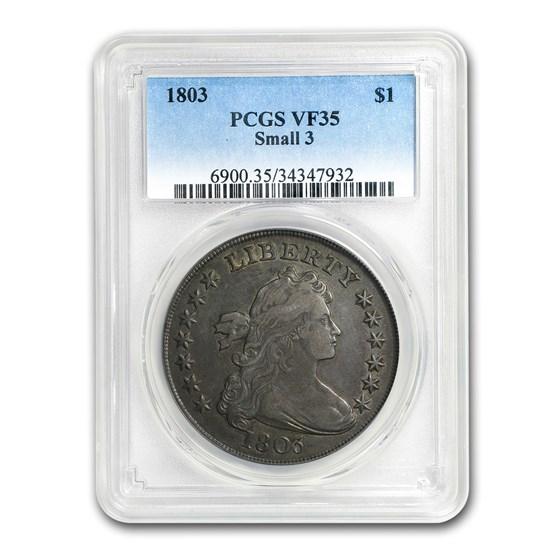 1803 Draped Bust Dollar VF-35 PCGS (Small 3)