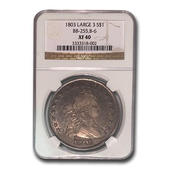 1803 Draped Bust Dollar XF-40 NGC (Large 3, BB-255,B-6)