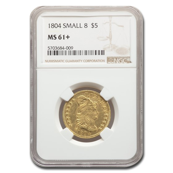 1804 $5 Capped Bust Gold Half Eagle MS-61+ NGC (Small 8)