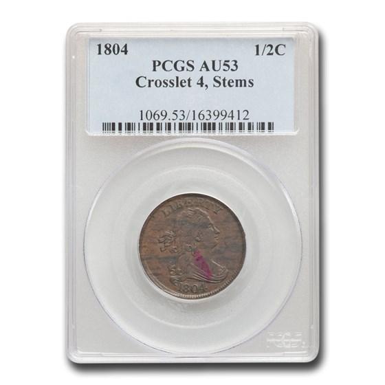1804 Draped Bust Half Cent AU-53 PCGS (Crosslet 4, Stems)