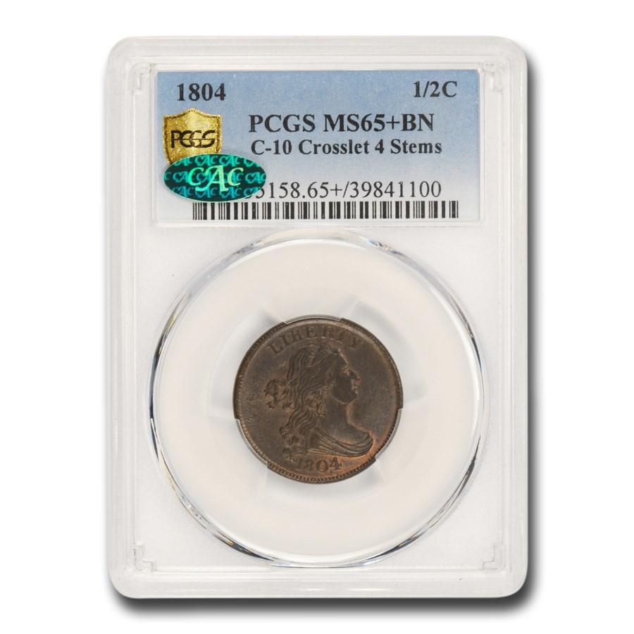 1804 Draped Bust Half Cent MS-65+ PCGS CAC (BN, Crosslet 4, Stem)