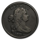 1804 Draped Bust Half Cent Spiked Chin XF