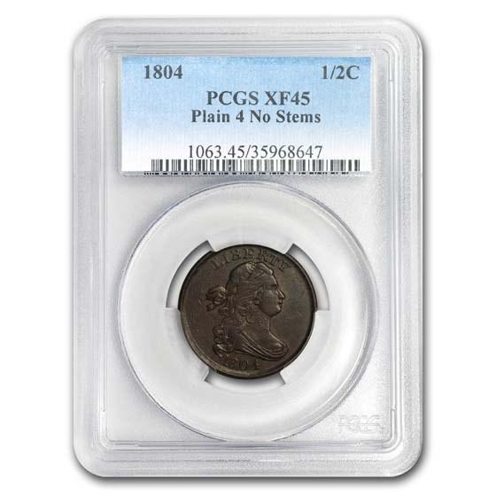1804 Draped Bust Half Cent XF-45 PCGS (Plain 4, No Stems)