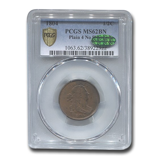 1804 Half Cent MS-62 PCGS CAC (Brown, Plain 4, No Stem)
