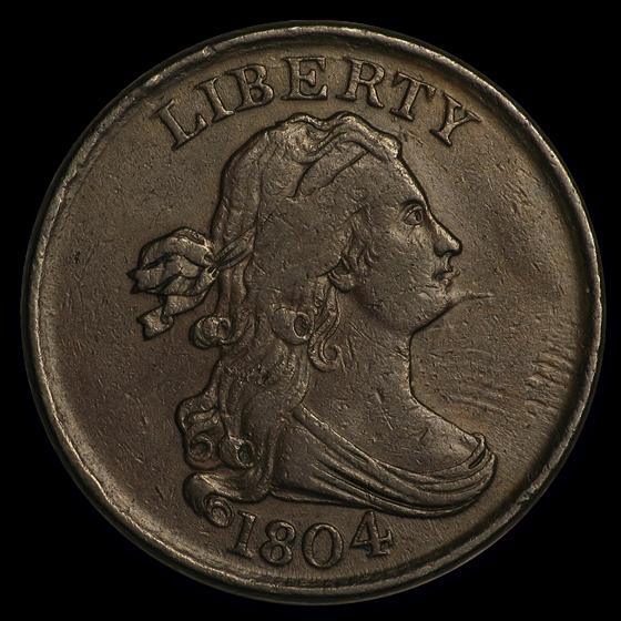 1804 Half Cent Spiked Chin AU