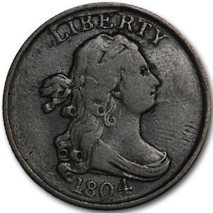 1804 Half Cent Spiked Chin VF-35