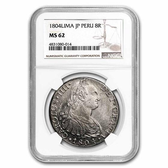 1804-LIMA JP Peru Silver 8 Reales MS-62 NGC