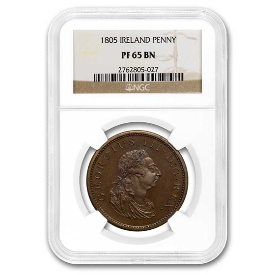 1805 Ireland Bronzed Copper Penny PF-65 NGC (Brown)