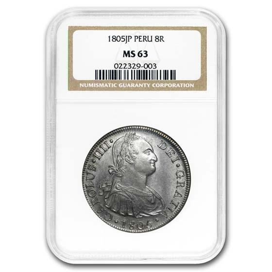 1805-L JP Peru Silver 8 Reales MS-63 NGC