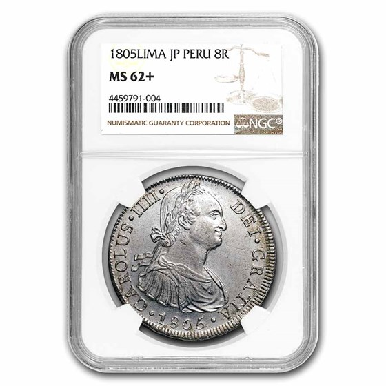 1805-LIMA JP Peru Silver 8 Reales MS-62+ NGC