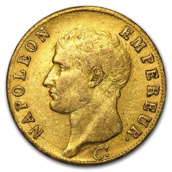1806-1813 France Gold 40 Francs Napoleon I (AU)