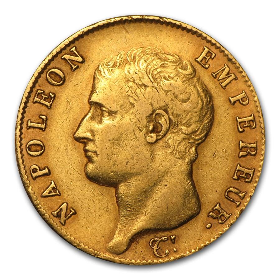 1806-1813 France Gold 40 Francs Napoleon I (Avg Circ)