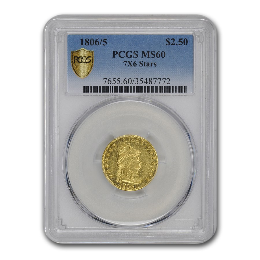1806/5 $2.50 Capped Bust Gold Eagle MS-60 PCGS (7x6 Stars)