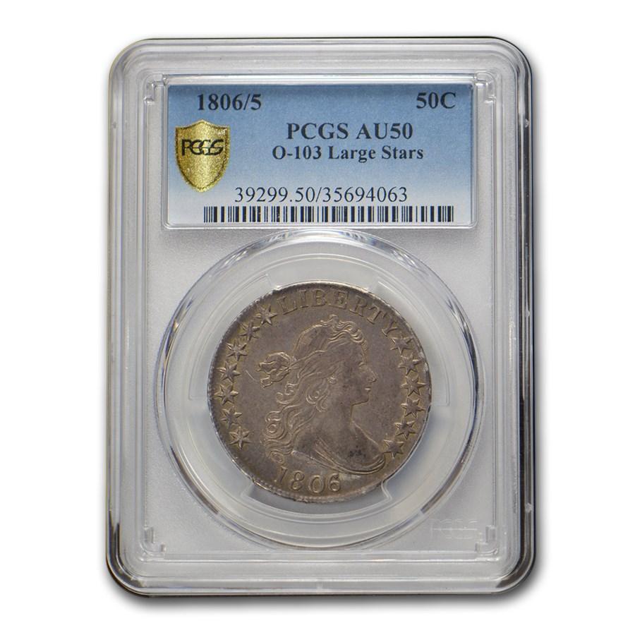 1806/5 Draped Bust Half Dollar AU-50 PCGS (O-103 Large Stars)